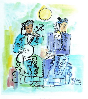 Tranh bột màu của Nguyễn Tư Nghiêm