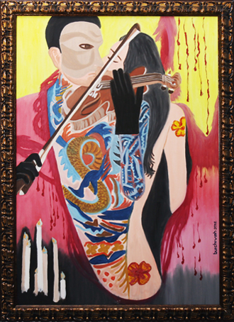 Vĩ cầm đôi - tranh sơn dầu của Bùi Chí Vinh
