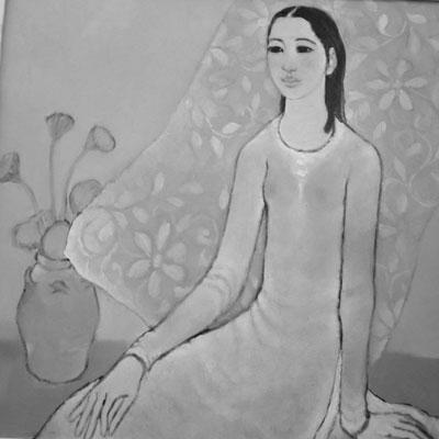 Thiếu nữ và sen của Nguyễn Trung