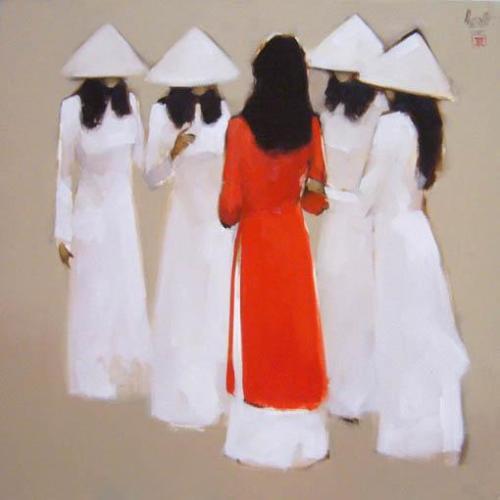 Nữ sinh, tranh của Nguyễn Thanh Bình