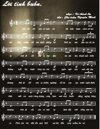 """"""" Lời tình buồn"""" . Thơ, nhạc và các bản dịch . Anh, Pháp,"""