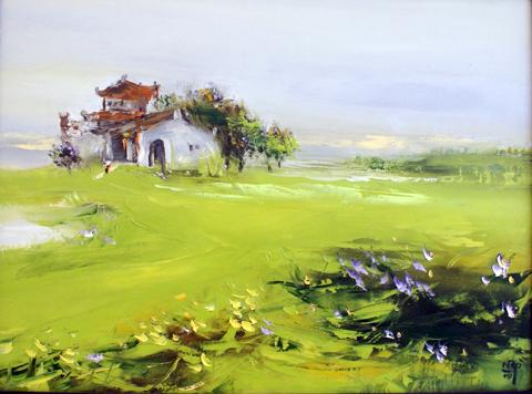"""Ngày đẹp"""", tranh sơn dầu của Nguyễn Văn Cường."""