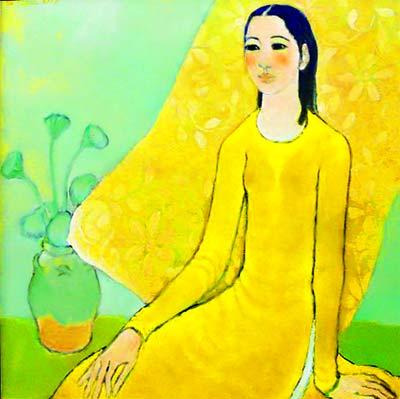 Thiếu nữ và hoa - Sơn dầu. Tranh họa sĩ Nguyễn Trung