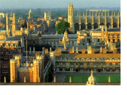 Kiến trúc của vài colleges cổ xưa ở ngay trung tâm thành phố Cambridge.
